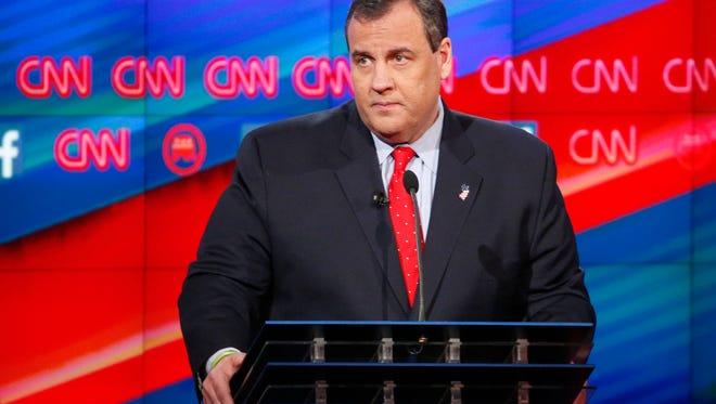 Chris Christie appears during the CNN Republican presidential debate at the Venetian Hotel & Casino on Tuesday, Dec. 15, 2015, in Las Vegas. (AP Photo/John Locher)