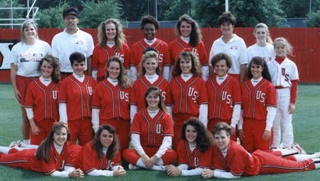 Steamer is pictured with teammates on the 1992 Ragin' Cajuns softball team. Front fro, from left: Melody Mohar, Kathy Mortan, Kyla Hall, Tiffany Whittall, Heather Neville. Second row: Kim Heath, Pam Crampton, Jenni Thomas, Tami Pearson, Missy Skow, Heather Turbow, Alyson Habetz. Back row: Jennifer Lamabe, Pat Murphy, Cathy Sconzo, Dorsey Steamer, Trish Leidy, Yvette Girouard, Michelle Ludwig, Hollie Girouard.