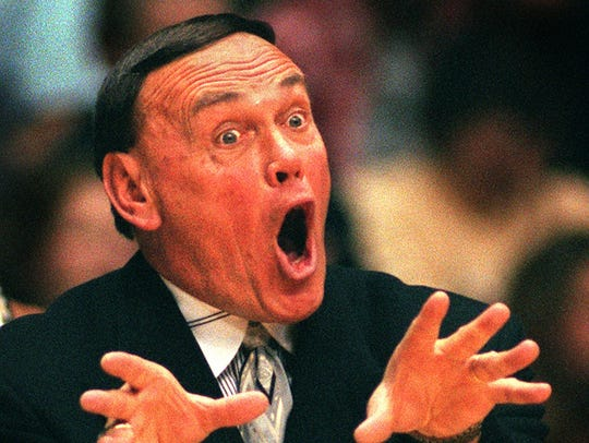 Former Purdue coach Gene Keady orchestrates his team