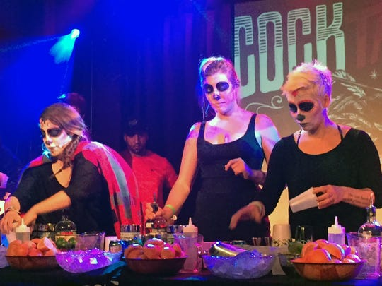 From left, Kristina Magro, Miranda Breedlove, and Shaunna McCarthy all representing Chicago in the speed round of Espolon Tequila Cocktail Fight.