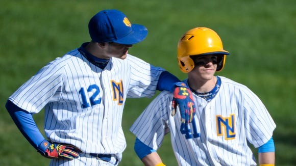 Northern Lebanon's Isaac Wengert (12) and Hayden Johnson (4) during the game as Lebanon held off Northern Lebanon to win 3-2 at Coleman Memorial Park on Tuesday, April 5, 2016