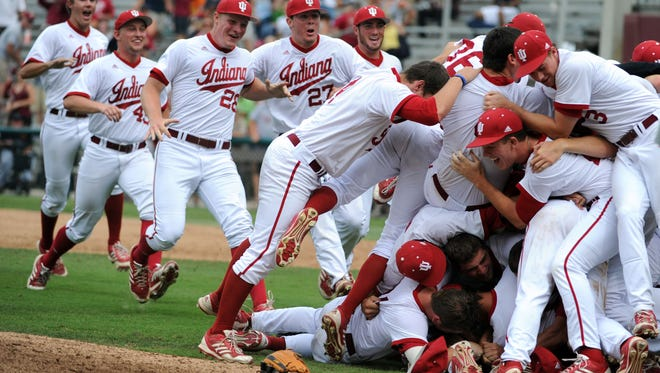 Jun 9, 2013; Tallahassee, FL, USA; Indiana Hoosiers players celebrate after winning the game against the Florida State Seminoles during the Tallahassee super regional of the 2013 NCAA baseball tournament at Dick Howser Stadium. Mandatory Credit: Melina Vastola-USA TODAY Sports