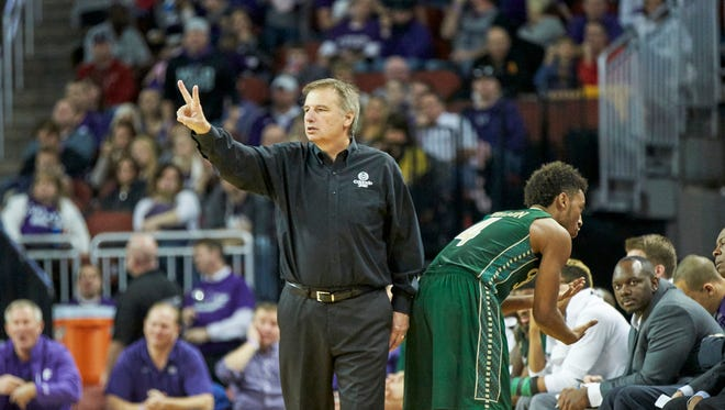 CSU basketball coach Larry Eustachy signals a play to his team during a game Saturday against Kansas State. The Rams will play a nonconference home game next season against Wichita State as part of the Mountain West/Missouri Valley Challenge, the conferences announced Tuesday.