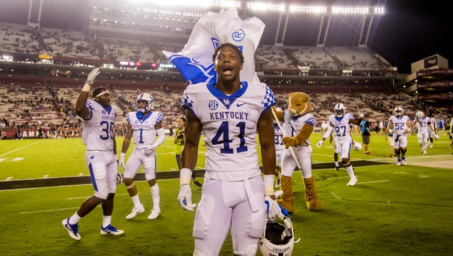 Sep 16, 2017; Columbia, SC, USA; Kentucky Wildcats linebacker Josh Allen (41) celebrates following the Kentucky Wildcats fourth win in a row over the South Carolina Gamecocks at Williams-Brice Stadium.