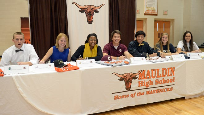Mauldin student athletes signed letters to continue their athletic careers in college. Signing today were Connor Campbell with USC Upstate to play Baseball, Emma Driggers with Francis Marion University to run Cross Country, Makayla Green with Anderson University to play Basketball, Tyler Kissinger with College of Charleston to play Baseball, Rasesh Pandya with Wofford College to play Baseball, Rachel Perrett with Queens University to play Lacrosse and Brittany Tepedino With North Greenville University to play Volleyball.