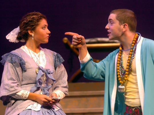 "Corinne Allman and Eli Bosnick rehearse a scene from ""The King and I"" for the Musical Theater Summer Youth Workshop in 2005 at Binghamton University."