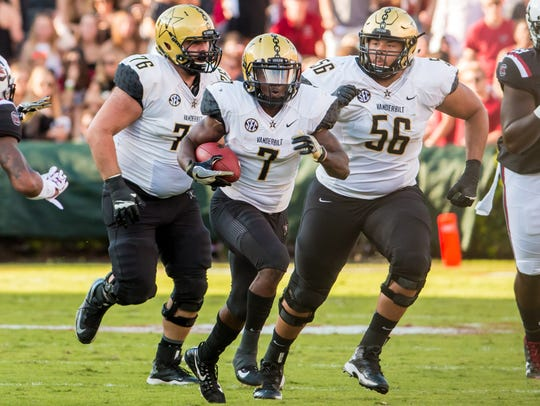 Oct 28, 2017; Vanderbilt Commodores running back Ralph