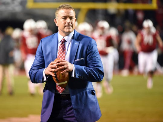 Nov 9, 2019; Raleigh, NC, USA; ESPN analyst Kirk Herbstreit throws the football prior to a game between the Clemson Tigers and North Carolina State Wolfpack at Carter-Finley Stadium. Mandatory Credit: Rob Kinnan-USA TODAY Sports