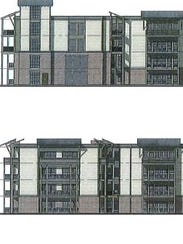 A concept drawing of apartments at Hannah Farms East,