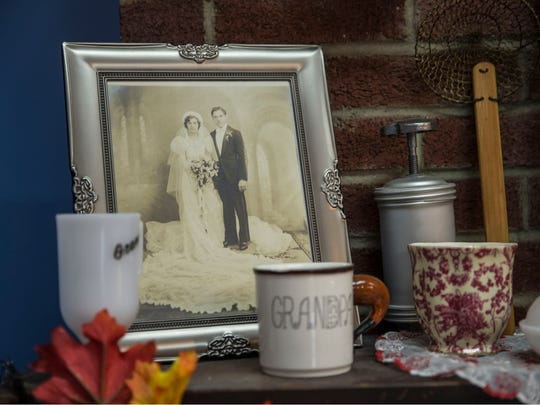 A portrait of owner Annmarie Cooney's grandparents is displayed in her shop.