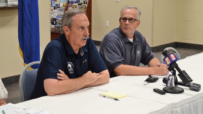 Ken Tedford, mayor of Fallon, Nevada, and Chief of Police Kevin Gehman speak at a news conference Sunday, July 22, 2018, about a shooting at the Fallon Church of Latter-day Saints that left one person dead and another injured.