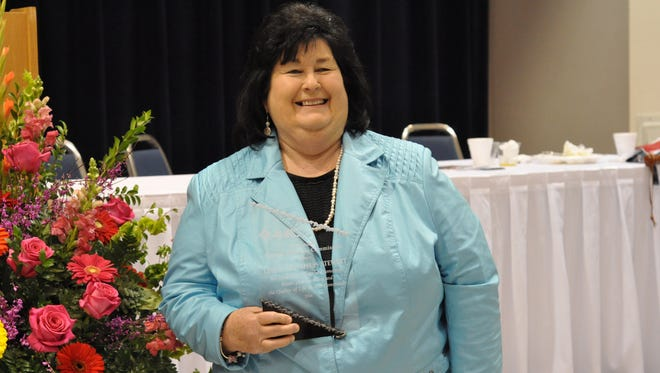 """Linda """"Lin"""" Dyess Stewart, Rapides registrar of voters, poses for a photo after being honored by the City of Alexandria Human Relations Commission with a 2016 Spirit of Community Award. Stewart was one of six honorees."""