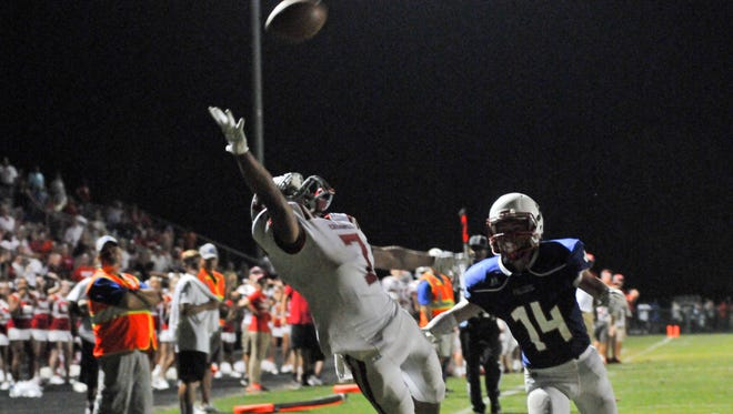 Hendersonville's Tykel Landrum stretches out to try and make a catch in Thursday's game at West Henderson.