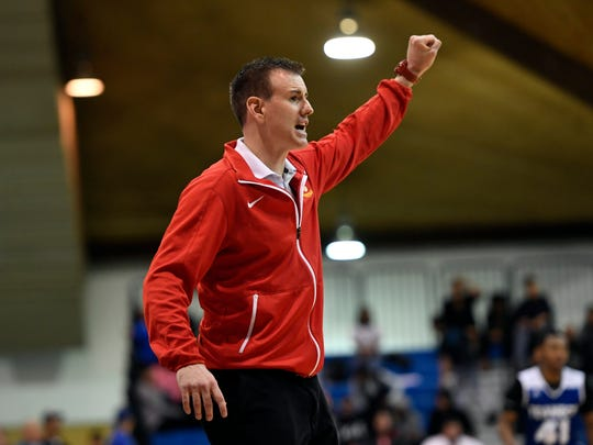 Bergen Catholic head coach Billy Armstrong. Bergen Catholic defeated Teaneck 71-61 in the Bergen County Jamboree semifinal round at the Fairleigh Dickinson University Rothman Center in Hackensack on Sunday.