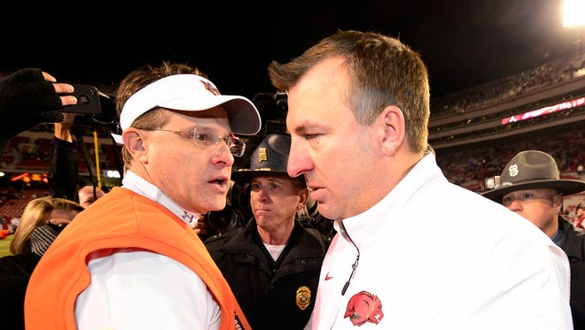 The next on-field meeting of Gus Malzahn and Bret Bielema will be Aug. 30 at Jordan-Hare Stadium on the SEC Netowrk.