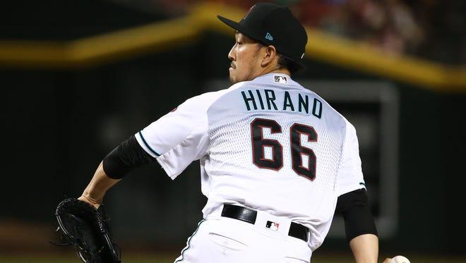 Arizona Diamondbacks Yoshihisa Hirano throws to the San Francisco Giants in the 7th inning on June 29, 2018, at Chase Field in Phoenix, Ariz.