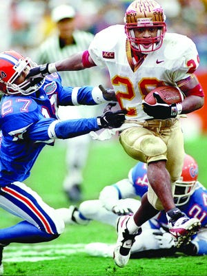Florida State's Warrick Dunn is the first Seminole to rush for more than 1,000 yards in three consecutive seasons.