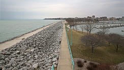 Lake Michigan from along Racine's lakefront at the