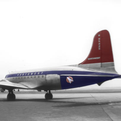 An undated colorized image of the DC-4 that disappeared