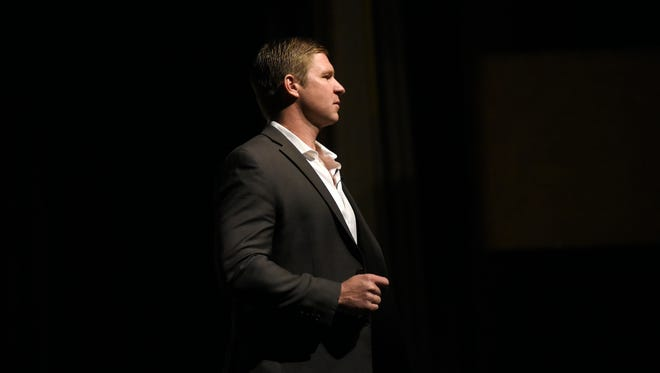 Former Navy SEAL Kevin Lacz talks about his experience in the service Monday, Feb. 13, during the Port Huron Town Hall Lecture Series at McMorran Theatre.