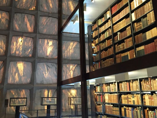The Beinecke Rare Book & Manuscript Library on the campus of Yale University in New Haven, Conn., is known for its serene interior, with marble panels that filter light and a glass tower filled with antique books.