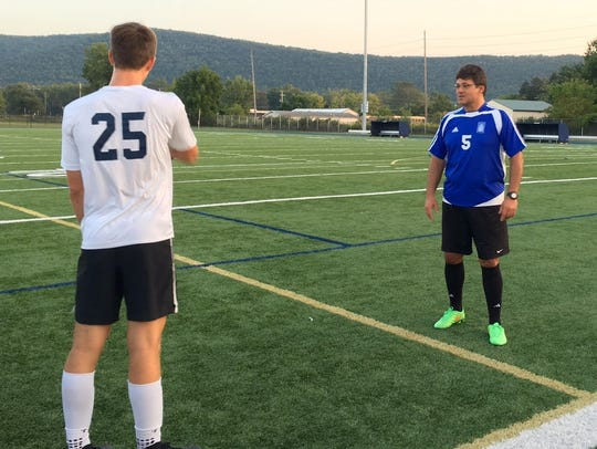 Elmira Notre Dame boys soccer coach Kostas Varkatzas,
