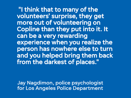 Jay Nagdimon, a police psychologist who trains hotline volunteers, discusses the benefits of Copline