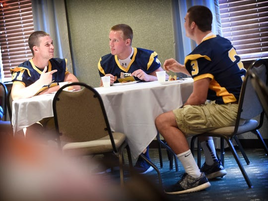 Elco High School football players, from left, Dylan