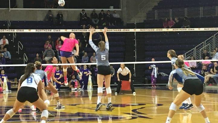 UNI's Bri Weber attacks the ball in Northern Iowa's