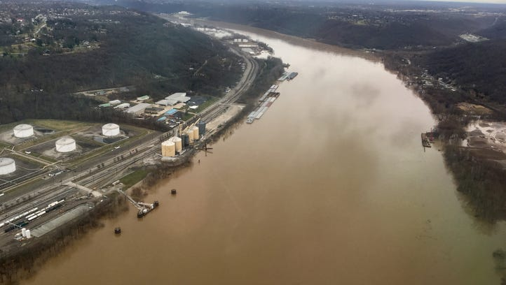The swollen Ohio River, as seen Saturday, Feb. 24,