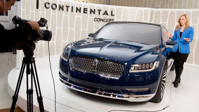 A Lincoln Continental concept car is shown at the New York International Auto Show in March