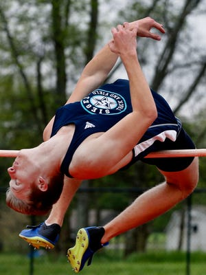 Siegel's Caleb Bull participates in Boys High Jump during theRutherford County Boys Track and Field Championship at Stewarts Creek on Wednesday April 25, 2018.