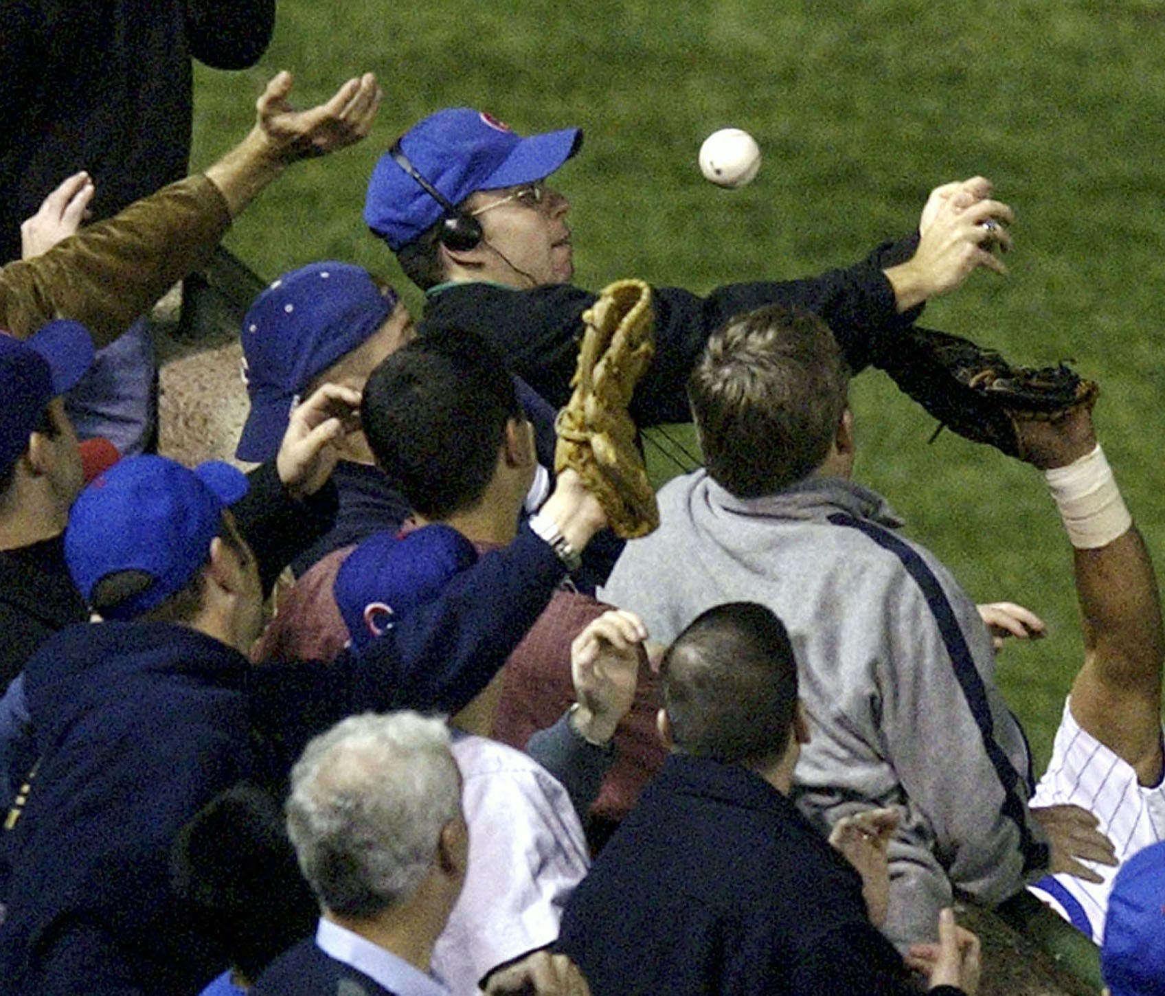 Cubs fan Steve Bartman interfered with a foul ball during Game 6 of the 2003 NLCS.