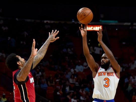 New York Knicks forward Tim Hardaway Jr. (3) shoots