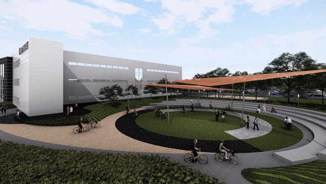 A rendering of United Shore' new headquarters in Pontiac, following a planned $40M in renovations.