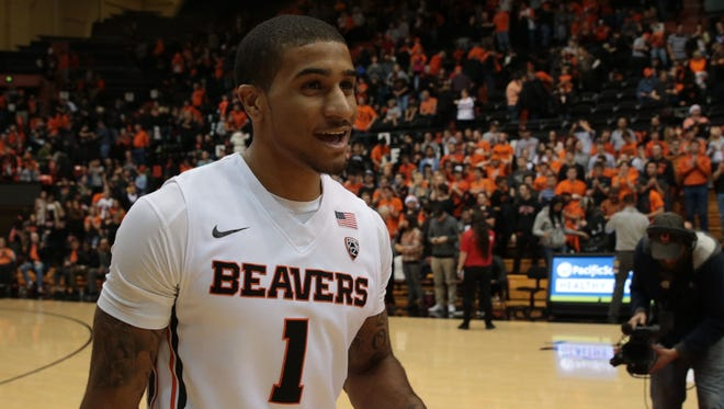 Dec 5, 2015; Corvallis, OR, USA; Oregon State Beavers guard Gary Payton II (1) walks off the court following the end of the game against the Nevada Wolf Pack at Gill Coliseum. Mandatory Credit: Scott Olmos-USA TODAY Sports