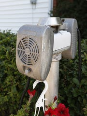 An retro drive-in movie speaker from the drive-in movie