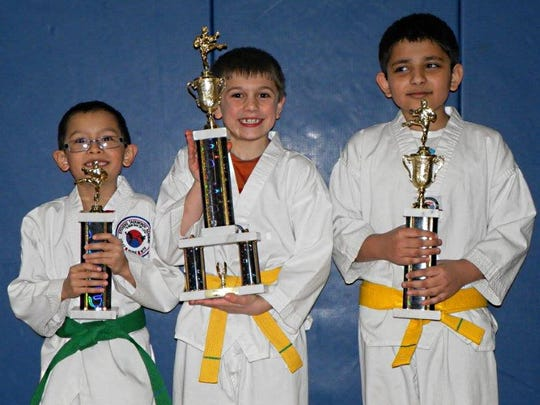 Trophy winners from February's testing for Stevens Taekwondo Academy included Tyce Xiong, Grant Hinker, and Hridat Panchal.
