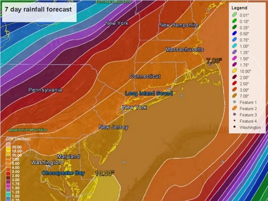7 day rainfall forecast