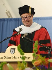 Dr. Timothy P. Flanigan speaks at Mount Saint Mary