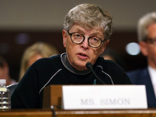 """Former Michigan State president Lou Anna Simon testifies during a Senate Subcommittee on Consumer Protection, Product Safety, Insurance, and Data Security, on Capitol Hill in Washington, Tuesday, June 5, 2018. The hearing is on """"Preventing Abuse in Olympic and Amateur Athletics: Ensuring a Safe and Secure Environment for Our Athletes."""""""