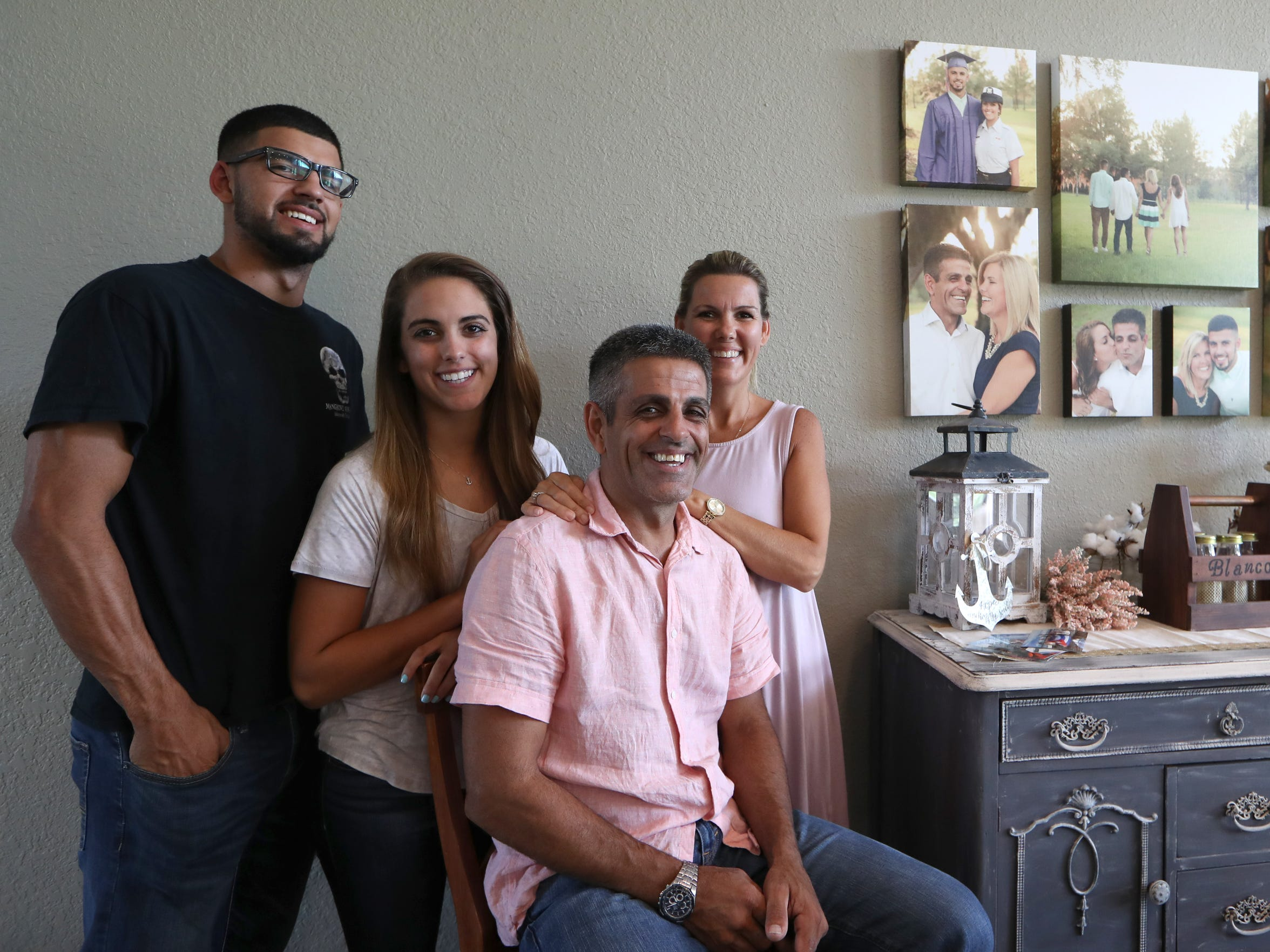 The Blanco family, from left, Noah, Hannah, and parents