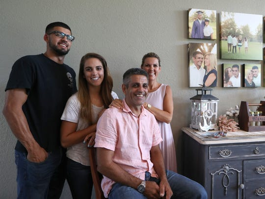 The Blanco family, from left, Noah, Hannah, and parents Rudy and Shelly at their home in Perry, Fla. on Thursday, Aug. 31, 2017.