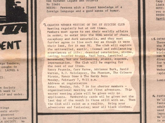 A newspaper clipping pictured by the Suicide Club shows the first listing of the club in the Communiversity class listing in 1977.