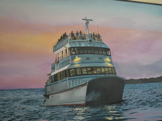 This close-up of one of Bailey VanKirk's works depicts the Lake Erie scenes she is so fond of recreating on canvas.