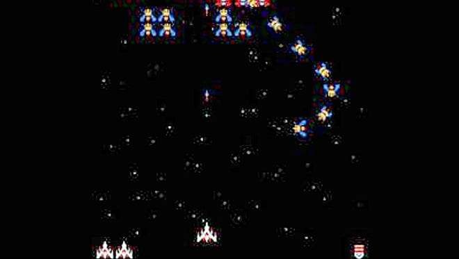 A screenshot of the video game Galaga.