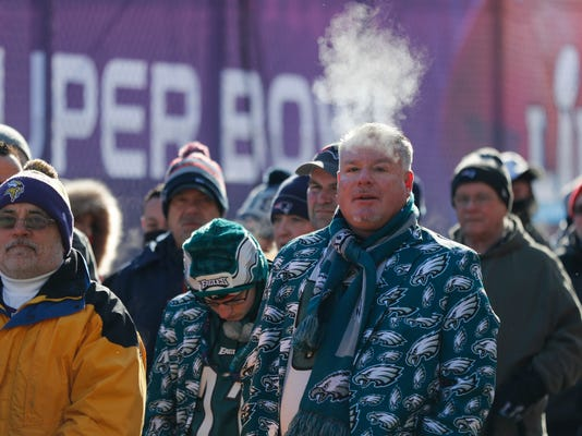 FILE  In this Feb. 4, 2018 file photo fans brave cold temperatures as they wait to get into U.S. Bank Stadium before the NFL Super Bowl 52 football game between the Philadelphia Eagles and the New England Patriots Sunday, Feb. 4, 2018, in Minneapolis. The extreme cold that settled over Minneapolis during the Super Bowl has some wondering if the NFL's marquee event will ever return. Despite some complaints about the weather, many who attended say it wasn't a negative. The NFL has used the Super Bowl as a reward for municipalities that pump public money into new venues. The next four Super Bowls will be held at warm-weather sites, all of them with new or recently renovated stadiums. (AP Photo/Jeff Roberson)