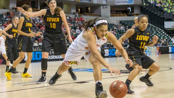 Brionna Jones of Maryland tracks down a loose ball against Iowa, Big Ten Women's Basketball Tournament, Bankers Life Fieldhouse, Indianapolis, Friday, March 4, 2016.