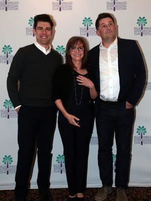 Actress Sally Field, actor Max Greenfield and director Michael Showwater attend a screening of their film 'Hello, My Name is Doris' at the Camelot Theatre in Palm Springs on Friday, January 8, 2016.