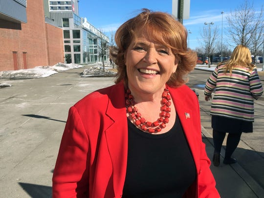 Democratic Sen. Heidi Heitkamp arrives for the state Democratic party convention in Grand Forks, North Dakota, on March 17, 2018.